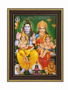 Lord Shiva and Parvathi with Muruga and Ganesha on their lap