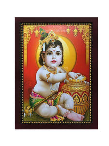 Little Krishna with pot in red background