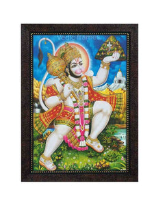 Hanuman with halo carrying Sanjeevani in scenary background