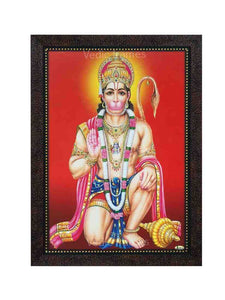 Hanuman in kneeling posture in red background with halo