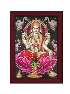 Goddess Lakshmi with prabhai in grey background
