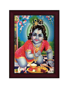 Laddu Gopal in blue background with flowers