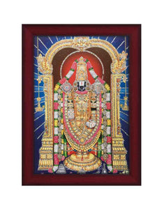 Lord Venkateshwara in blue background glow sand finish