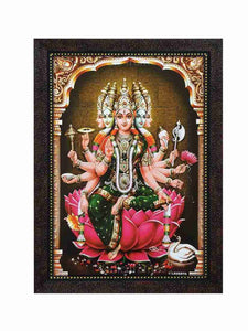 Goddess Gayathri on lotus in sanctum background