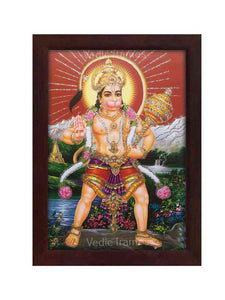 Hanuman holding Gadhai in scenary background glow sand finish