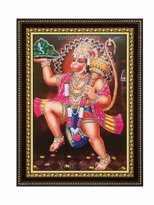 Hanuman in brown background glow sand finish
