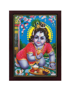 Laddu Gopal having yellow halo in flowery background