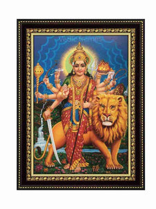 Goddess durga with Lion in natural scenary background