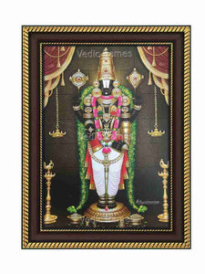 Lord Venkateshwara with hanging deepam and thulasi garland