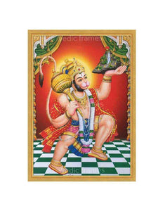 Hanuman with halo carrying Sanjeevani in red background