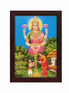 Goddess Lakshmi blessing a woman for performing Annadhaanam