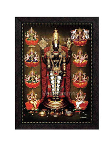 Lord Venkateswara with rose garland surrounded by Ashtalakshmi