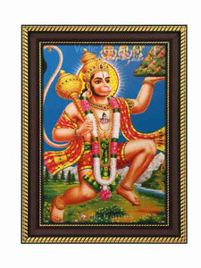Hanuman lifting Sanjeevani in blue background