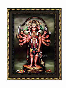 Panchamuka Hanuman in olive green background