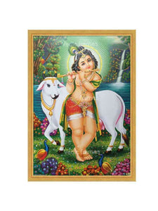 Little Krishna with cow playing flute in scenary background