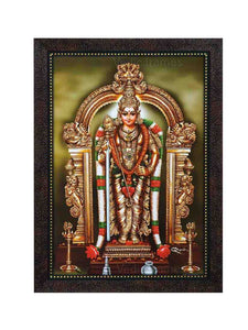Lord Muruga with prabhai in olive green background