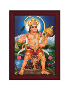 Hanuman holding Gadhai in scenary background