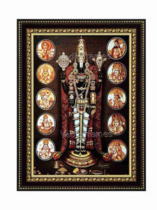 Lord Venkateshwara with rose garland and dasavatharam