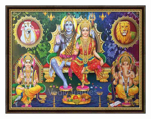 Lord Shiva with Parvathi sitting on throne and Vinayagar, Murugan on sides