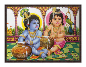 LittleKrishna with Balrama grabbing butter from pot with Parrot on their side