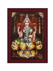 Goddess Lakshmi on golden lotus in brown multi-pillar background (green vasthram)