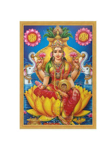Goddess Lakshmi on yellow lotus in lake with kalasam background