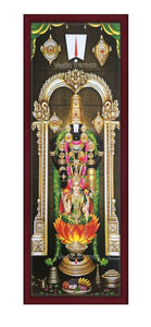 Lakshmi Venkateswara with prabhai in sanctum background Vertical