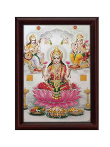 Goddess Lakshmi on lotus with Saraswathi and Ganesha glow sand finish
