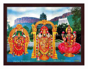 Lord Venkateswara with Mahalakshmi and Padmavathi in Swami Pushkarani with Thirumala background