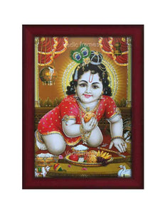 Laddu Gopal with halo in brown background glow sand finish