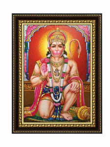 Hanuman with halo in designed pillar background