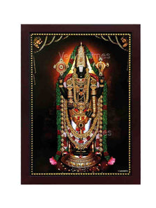 Lord Balaji with thulasi garland, lotus and Garudan Hanuman on top
