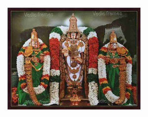 Lord Venkateswara Utsavar with Sridevi and Bhoodevi in Thirumala background