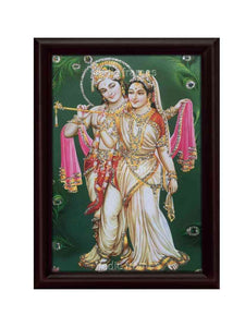 Radha Krishna in green background designed with peacock feathers glow sand finish