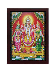 Lord Muruga with Valli Deivanai in a red background