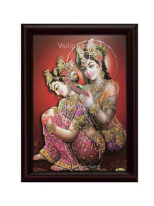 Radha Krishna in brown background glow sand finish