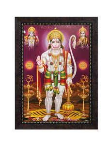 Hanuman standing in purple background with lamps