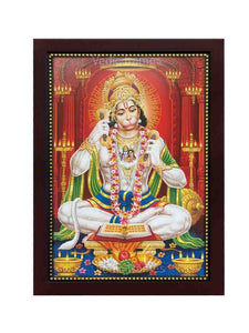 Hanuman doing bhajan in red multi-pillar background
