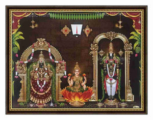 Lakshmi with Perumal & Padmavathi Thayar on sides and Thirunamam, Sanku, Chakra on top with hanging deepam