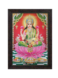 Goddess Lakshmi in red pillared backgound glow sand finish