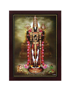 Lord Balaji in temple background, with lotus garland
