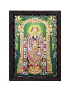 Lord Venkateshwara in green background glow sand finish