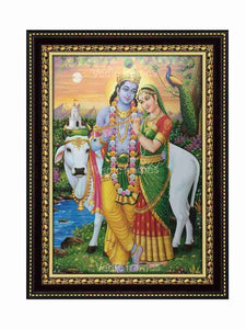 Lord Krishna with Radha at river bank