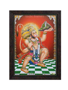 Hanuman with halo carrying Sanjeevani in red background glow sand finish