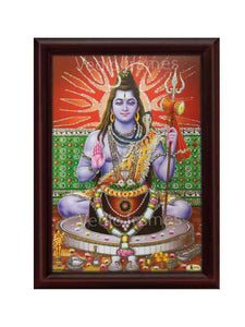 Lord Shiva meditating in red background glow sand finish