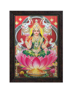 Goddess Lakshmi in red arched background glow sand finish