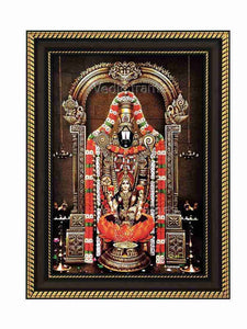 Lakshmi Venkateshwara in red and white garland with prabhai in sanctum background