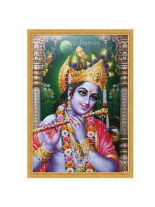Lord Krishna playing flute in arch and pillar background
