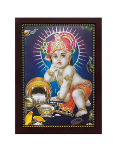 Little Krishna with pink turban glow sand finish