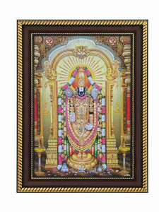 Lord Venkateshwara with yellow background and deepam
